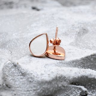 White Concrete Drop Earrings (Rose Gold) | Geometric Series