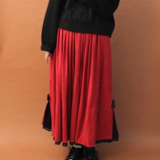 Vintage European Country Black Lace Hem Large Red Thick Vintage Dress Vintage Skirt