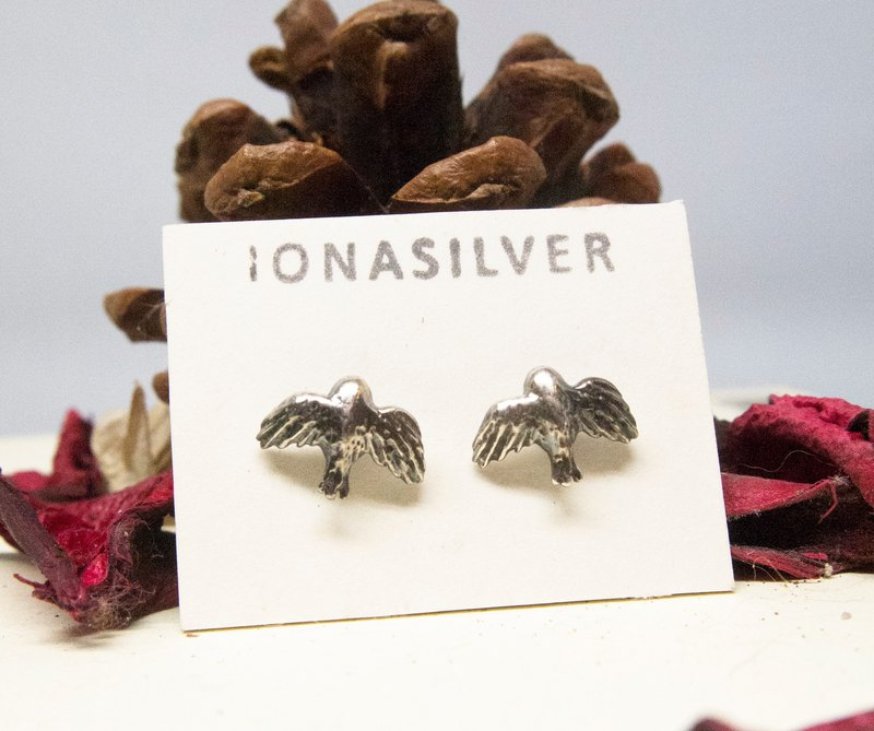 Silver Fly Bird Inspirational Earrings Studs Love jewelry Gift For Birthday