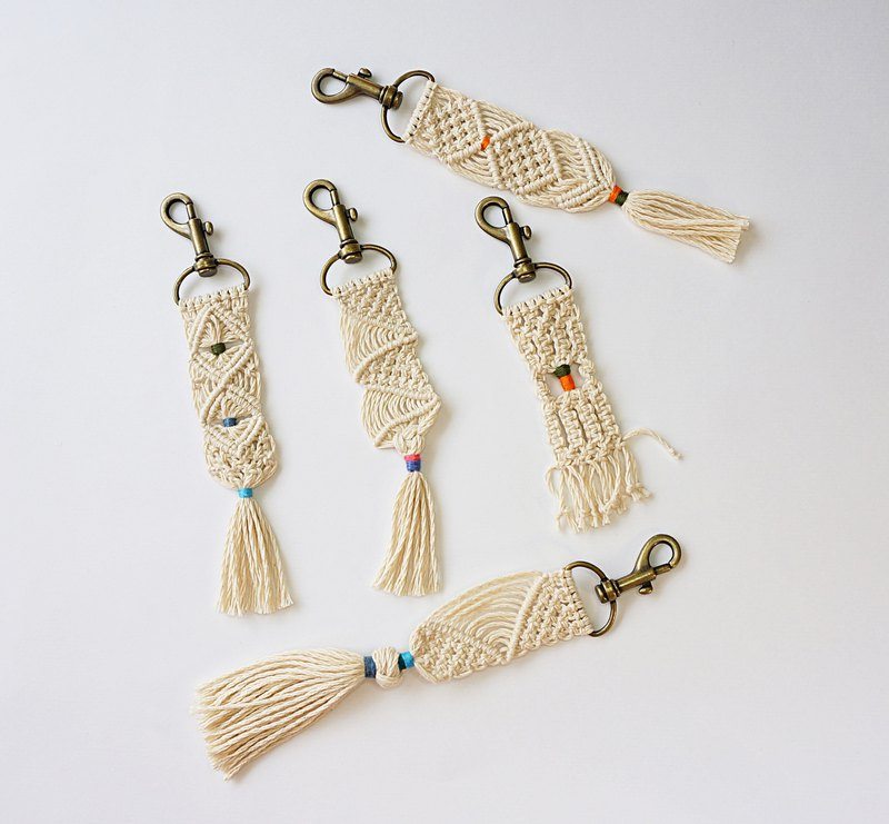 Pure Color-Cotton thread weave tassel Key holder