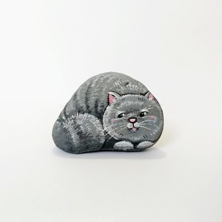 Grey cat stone painting.