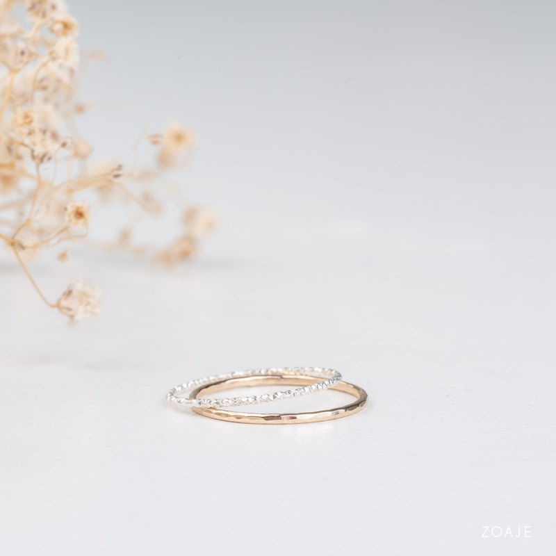 BARBADOS dainty rings in 14k gold filled and 925 Sterling Silver, Stacking rings