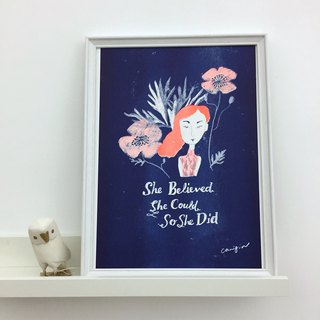 She believed she could so she did, risograph print (without picture frame)