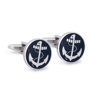 Round Nautical Anchor Cufflinks in Navy