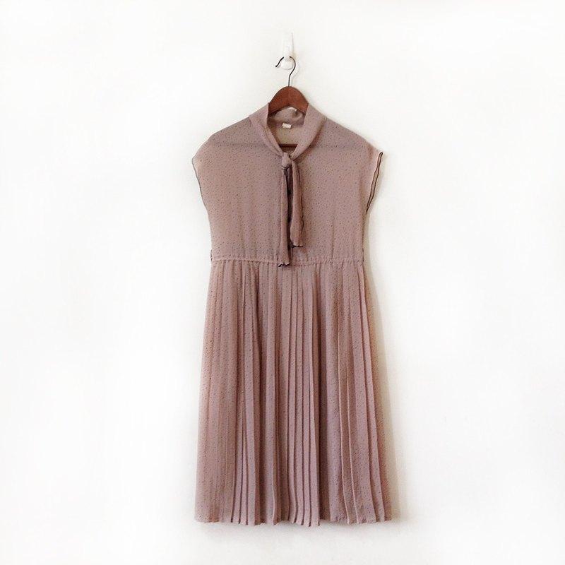 古著洋裝 氣質蓮藕色 無袖百褶洋裝