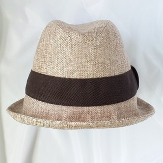 Linen cotton and cotton gentleman hat (Fedora)