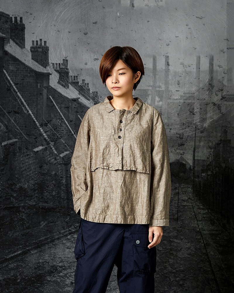 RE_Loft Memories Stacked Side Button Cotton Linen Shirt