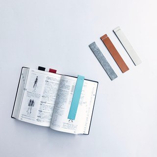 """Toy's"" leather sticky note bookmark sky blue"
