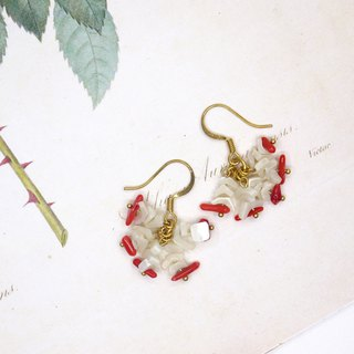 Fanhua dance series flower irregular shell coral earrings (can change the clip)