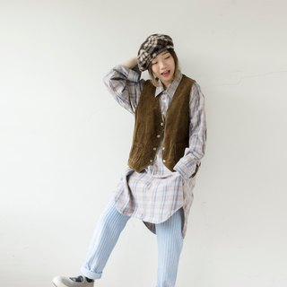 Blue gray green main color shaded French long version pullover plaid shirt