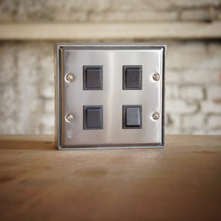 Edison-industry retro industrial style LOFT highest quality high-quality switch (dark gray) regular size (two) (excluding metal box) stainless steel vintage white iron switch socket electric material cover panel