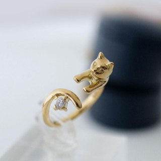 Diamond gold cat ring (0.1ct) K18