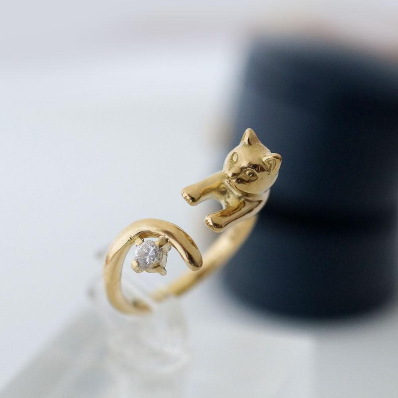Diamond gold cat ring 0.1ct K18