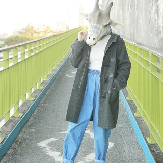 Giraffe giraffe man _ hooded pocket zipper dark gray vintage horns buckle jacket