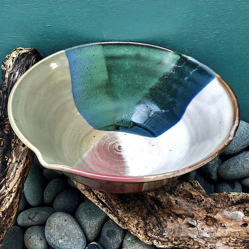 Five-color glaze open sliced ceramic bowl