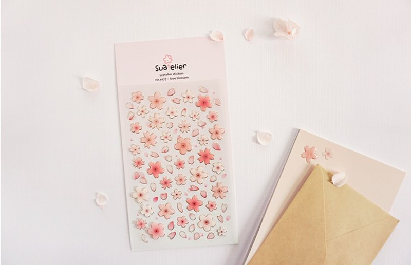 Cherry blossom powder sticker cute card decoration sticker hand book Wenqing gift diary Korea