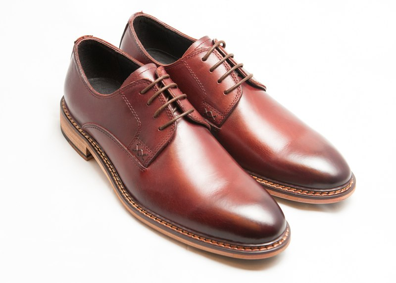 Hand-painted calfskin wood heel plain derby shoes men's leather shoes-wine red-B1A15-79