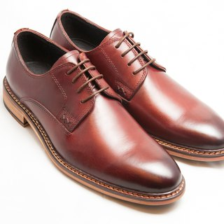 Hand-painted calfskin leather with plain and plain Derby shoes Men's shoes - Burgundy - Free Shipping - B1A15-79