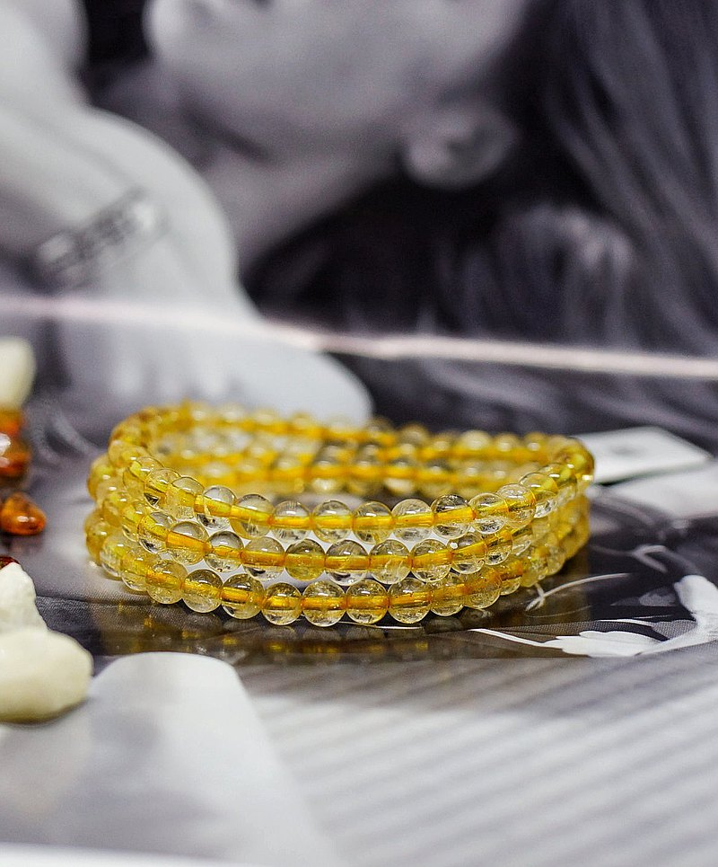 Citrine 3 wraps 5mm Bracelet