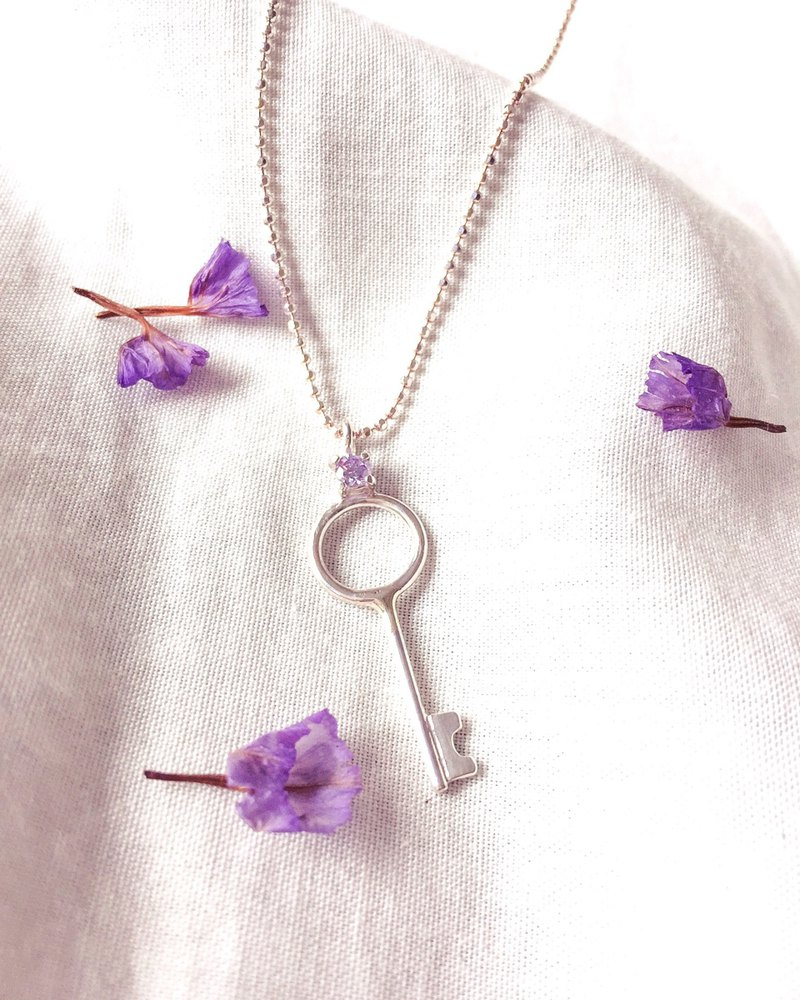 MIH Metal Jewelry | Key Gems Sterling Silver Necklace key necklace