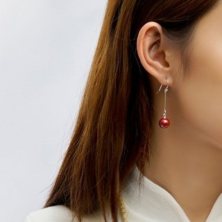 Cinnabar long-line earrings original s925 sterling silver red transshipment natural ore