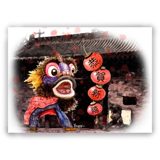 [New Year] hand-painted illustrations million cards / cards / postcards / illustrations card / New Year card - New Year Chinese New Year lion lion