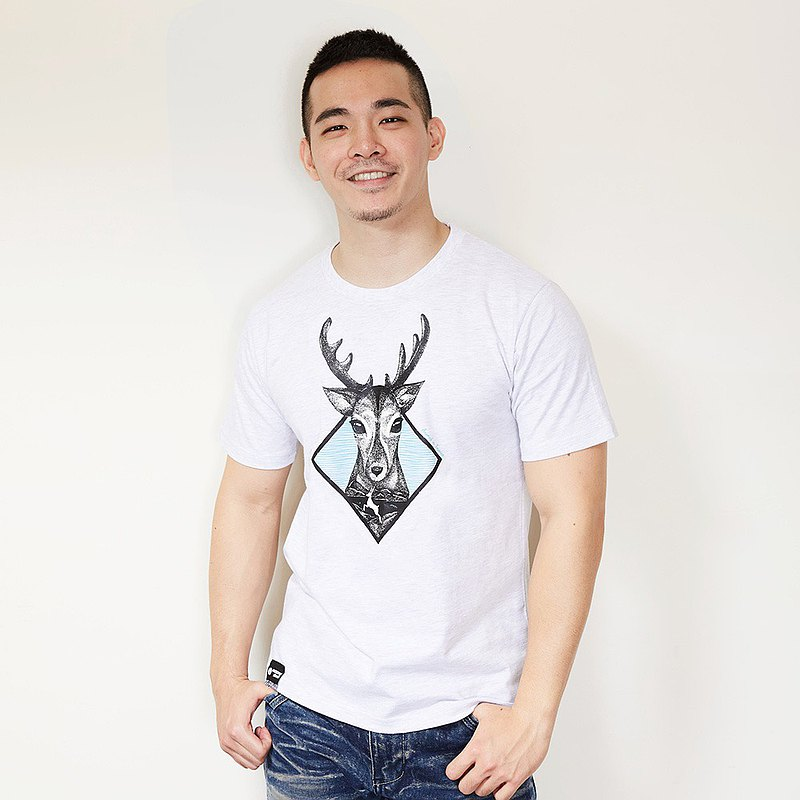 [Forest Animal Series] Beautiful White Deer TEE Neutral Model (Twist White)