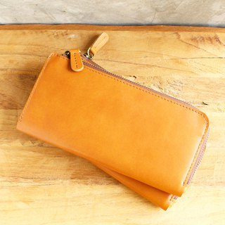 Leather Wallet - X1 - สีแทน (Genuine Cow Leather) / 錢包 / Mobile Phone bag / 手機袋