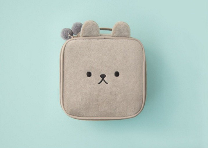 Bentoy x Plush Animals - Large Capacity Cosmetic Bag (Gray)