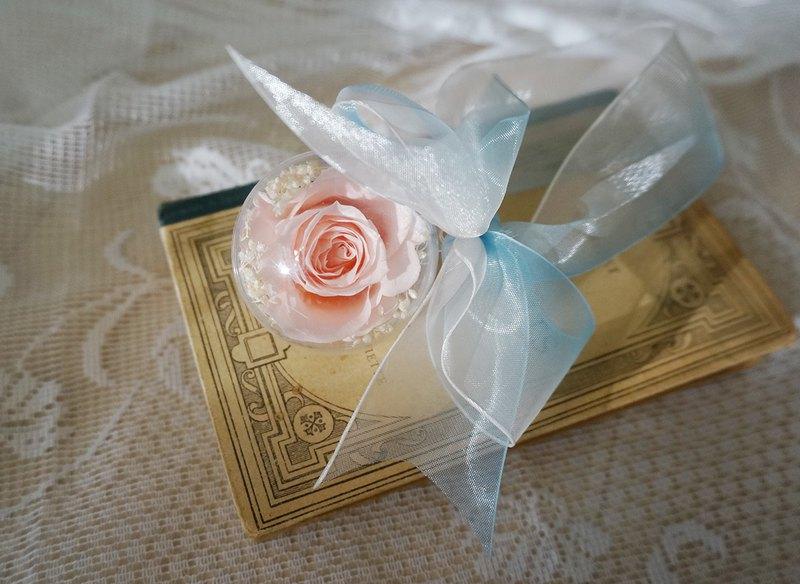 永生花透明球球鑰匙圈(小)-淺粉紅玫瑰
