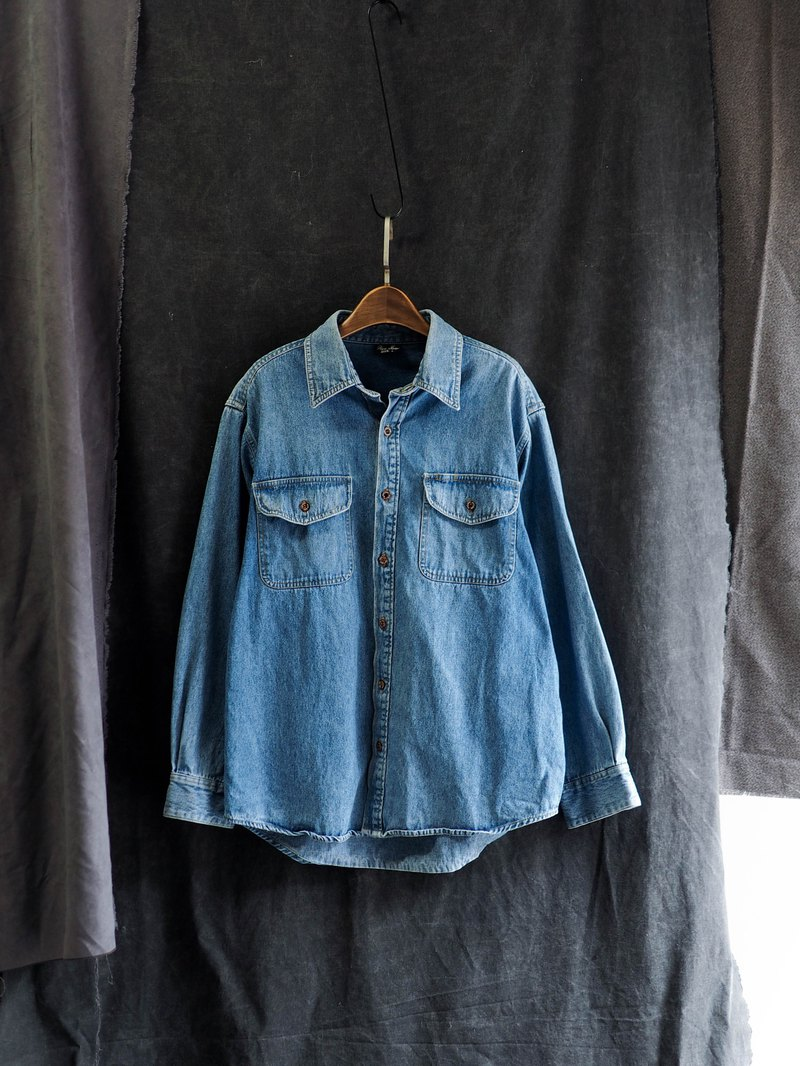 Oita blue classic short spring day and antique cotton denim denim shirt jacket coat vintage