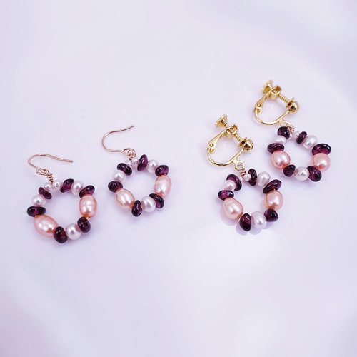 Burgundy Garnet Pink White Natural Freshwater Pearls Wreath 14KGF Gold Earrings (can be changed)