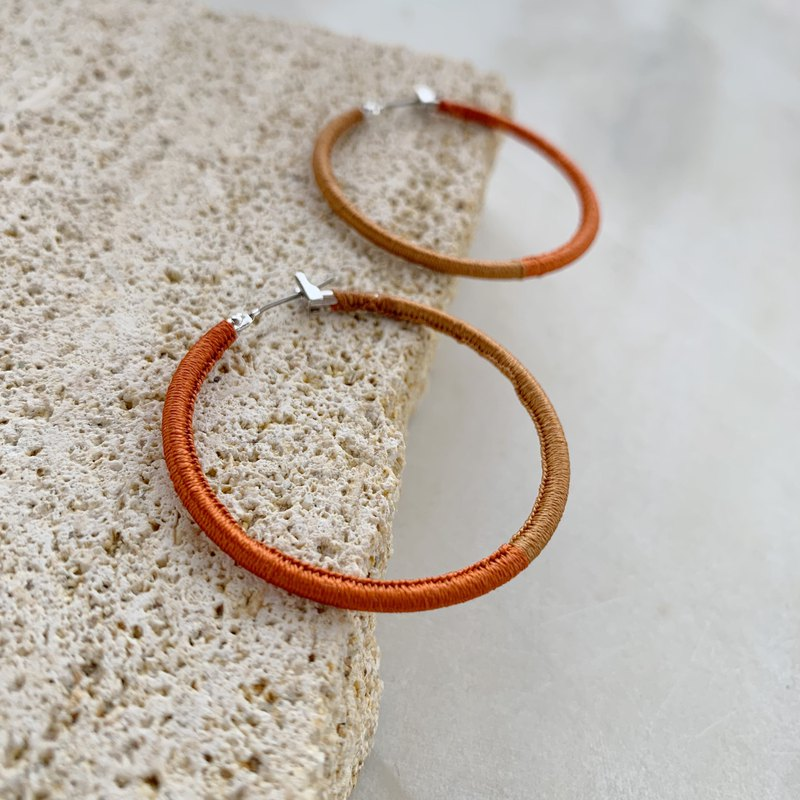 Hoop earrings wrapped with silk threads!