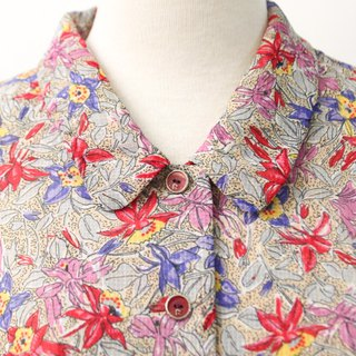 Vintage Elegant Small Broken Flowers Gray Red Short Sleeve Vintage Shirt Vintage Blouse