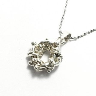 Sterling silver hand made knot necklace