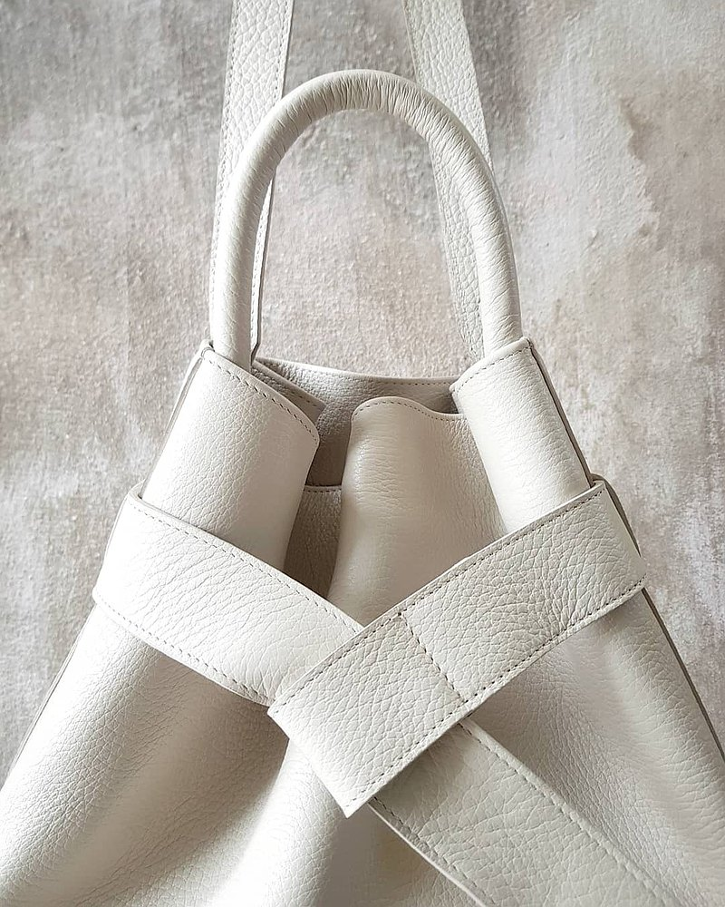 KANGAROO (White) Leather Bucket Ba