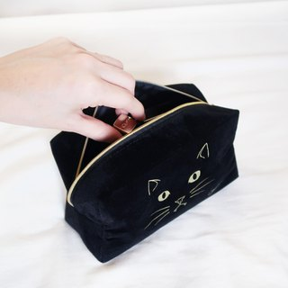 Cat Series - Texture flannel gilding cat cosmetic bag / black cat