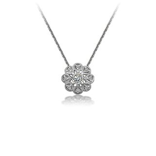 Sun Flower Shape Diamond Necklace