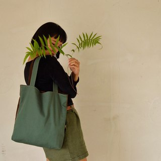 Color Blocking / Green Coffee / Large Shoulder Bag