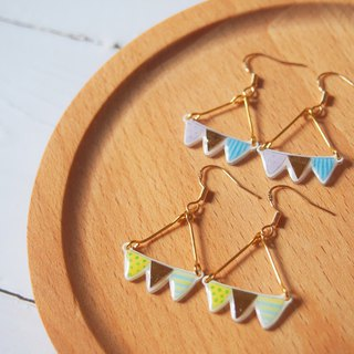 Hand-painted series of small colorful flag earrings