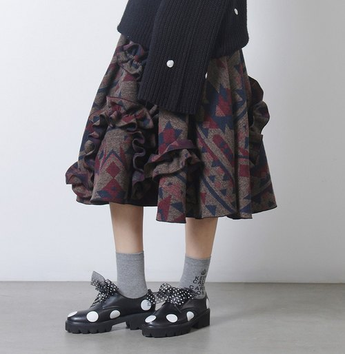 Brown geometric gray wool skirts A word skirt - imakokoni