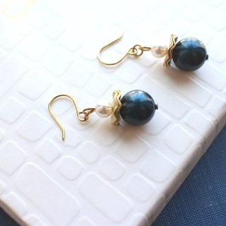 Deep blue -brass handmade earrings