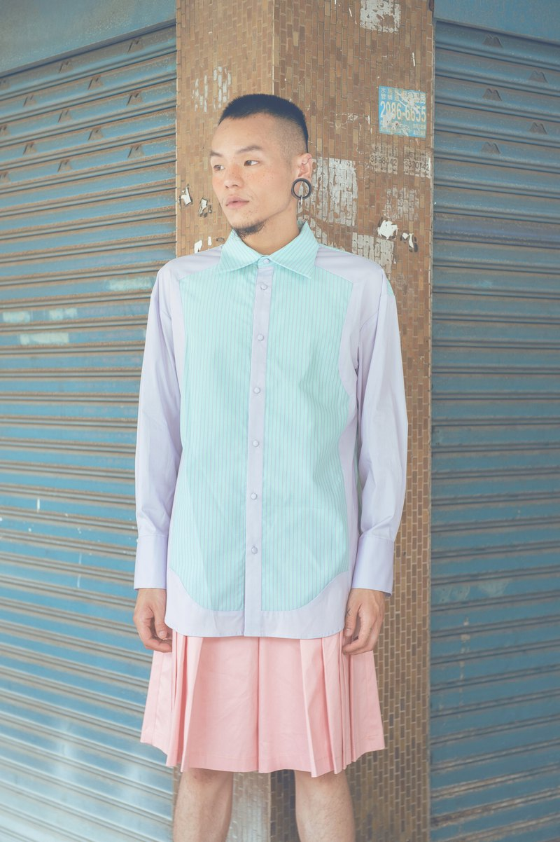 粉紫條紋剪接襯衫(191T01G)