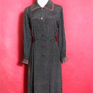 Wave Totem Long Sleeve Vintage Dress / Foreign Return to VINTAGE