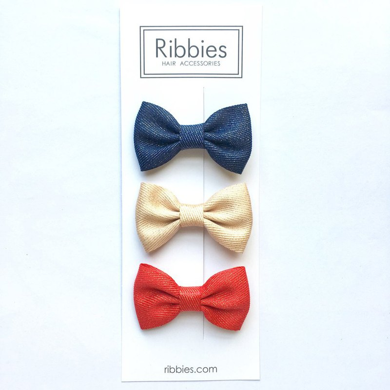 British Ribbies Chevrolet Ribbon Shiny Bow 3 into Group - Red / Gold / Navy