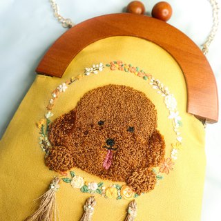 Handmade Embroidery Doggie & Dreamcatcher Bag | Poodle, Yellow