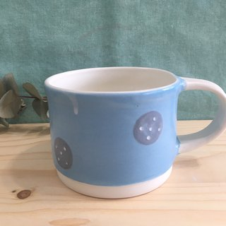 Dotted Handmade Pottery Cup - Pink Blue