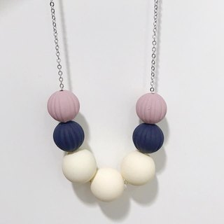 Deep Red Naby Blue Grey Wooden Ball Necklace Birthday Gift Bridesmaid Gift