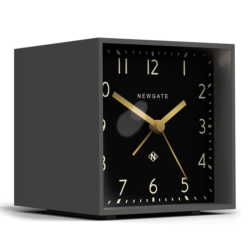 British style table clock - modern square - gentleman black - 11cm x 10cm