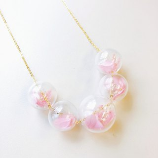 Preserved Flower Planet Ball Pastel Pink   Necklace